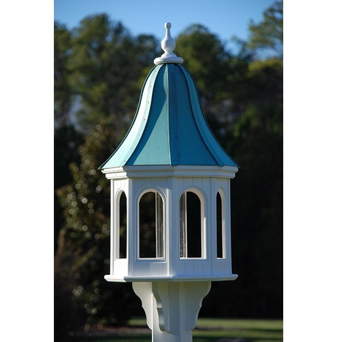 """Fancy Home Products Gazebo Bird Feeder Patina Copper 16"""" BF16-PC-BELL"""