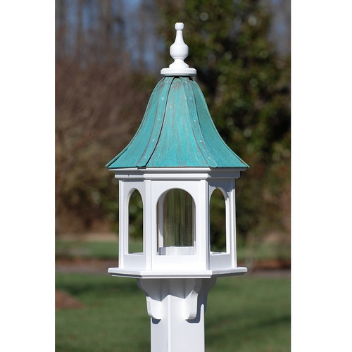"""Fancy Home Products Gazebo Bird Feeder Patina Copper 12"""" BF12-PC-PANELS"""