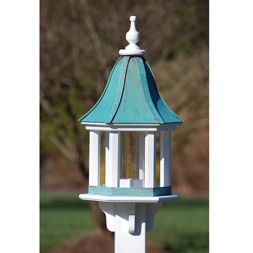 "Fancy Home Products Column Gazebo Bird Feeder Patina Copper 12"" BF12-PC-COLUMNS"
