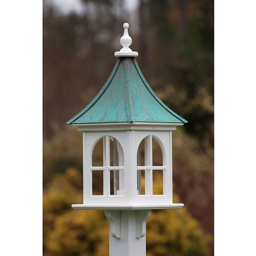 """Fancy Home Products Square Bird Feeder w/ Windows Patina Copper 12"""" BF12-SQ-PC"""