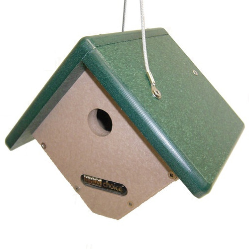 Birds Choice Wren House Recycled Poly Lumber Taupe w/ Green Roof SNWREN