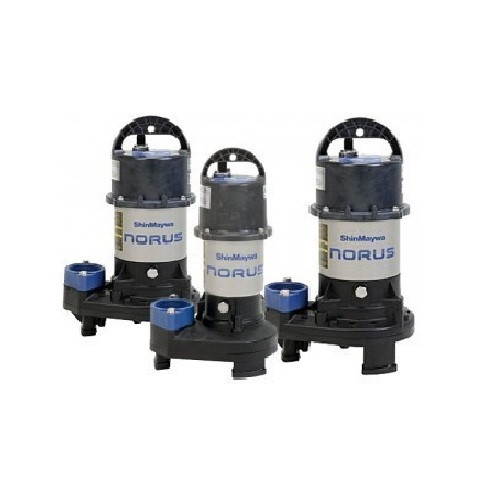 ShinMaywa Norus Stainless Steel Submersible Pump 5700 gph  SM50CR2.25S  ShinMaywa Norus Pumps are widely regarded the finest pumps for the water garden market. Designed to be a truly continuous duty motor so you can run you water feature 24/7/365 with confidence. The ShinMaywa pumps are constructed of Stainless Steel and corrosion resistant Poly Amide Fiber Reinforced Resin. Covered by a 2 year manufacturer's warranty.  Features: