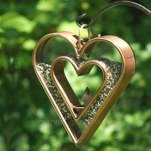 "Good Directions Heart Fly Thru Bird Feeder Venetian Bronze 15""x13"" 113VB"
