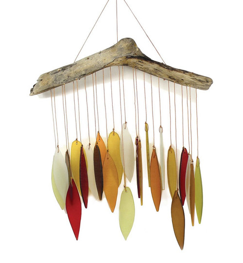 Blue Handworks Autumn Leaves & Driftwood Glass Wind Chime