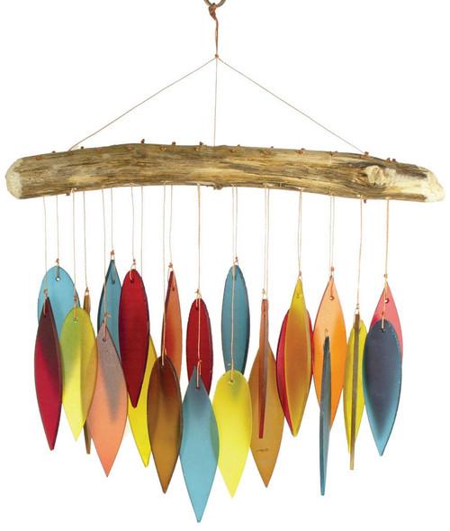 Blue Handworks Santa Fe Colors Leaves & Driftwood Glass Wind Chime