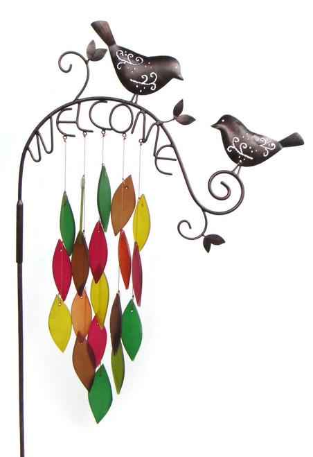 Blue Handworks Birds Welcome Garden Stand Wind Chime