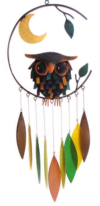 Blue Handworks Spiky Owl w/Moon Wind Chime