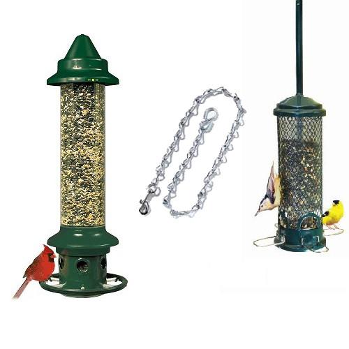 Brome Squirrel Buster Plus Squirrel Proof Bird Feeder 1024 & Brome Mini Finch Feeder 1055 and Locking Chain