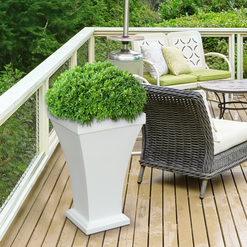 Mayne Bordeaux Tall Planter White 5864-W