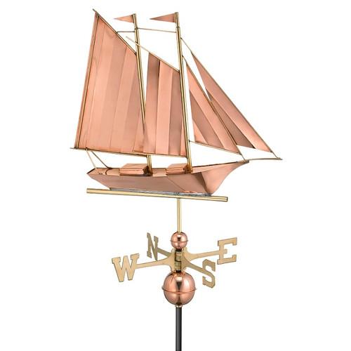 Good Directions Schooner Weathervane - Polished Copper 9601P
