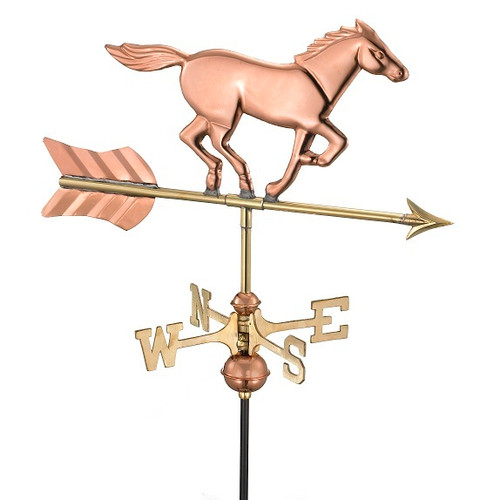 Good Directions Horse Garden Weathervane - Polished Copper w/Roof Mount 801PR