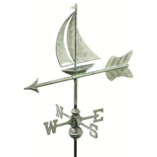 Good Directions Sailboat Garden Weathervane - Blue Verde Copper w/Garden Pole  8803V1G