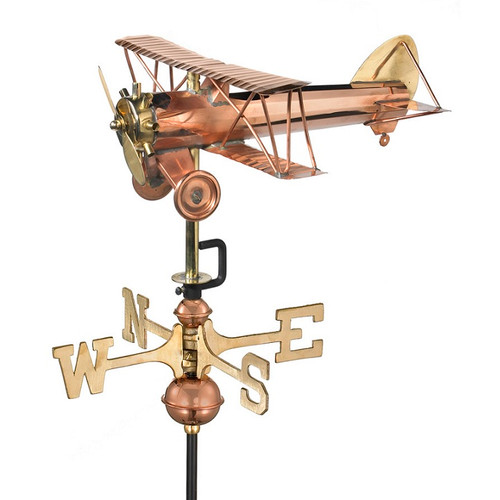 Good Directions Biplane Garden Weathervane - Polished Copper w/Roof Mount  8812PR