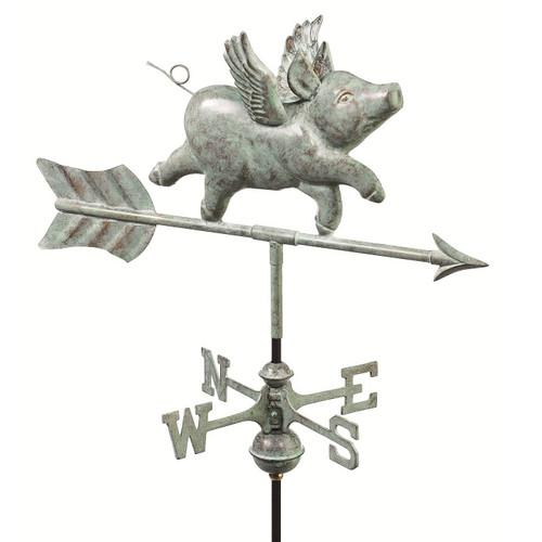 Good Directions Flying Pig Garden Weathervane - Blue Verde Copper w/Garden Pole  8840V1G