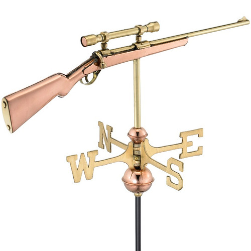 Good Directions Rifle with Scope Garden Weathervane - Polished Copper w/Garden Pole  8859PG