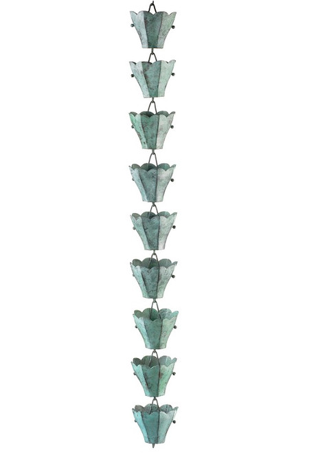 Good Directions 18 Cup Tulip Rain Chain - Blue Verde Copper 463V1-6