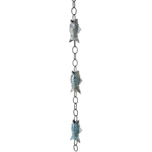 Good Directions Fish Rain Chain - Blue Verde Copper 487V1-6