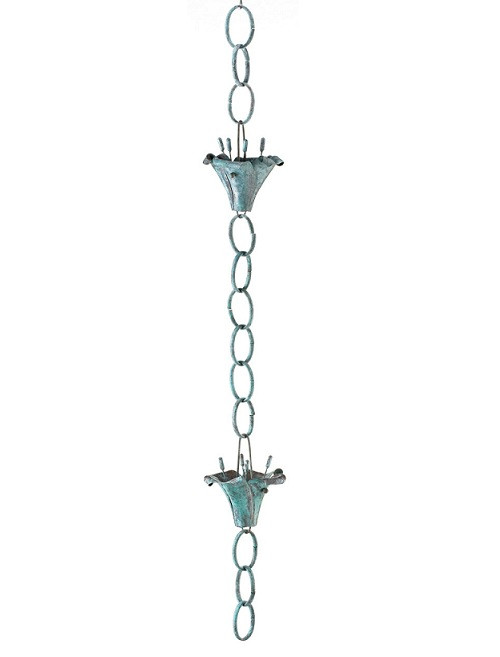 Good Directions Flowers Rain Chain - Blue Verde Copper 490V1-6