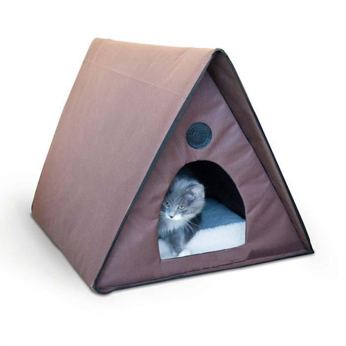 """K&H Outdoor Heated Kitty A-Frame Chocolate Cat Bed 35"""" x 20.5"""" x 20"""" KH3992"""