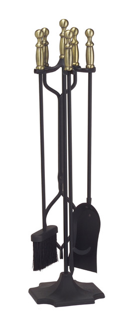 Achla Minuteman Antique Brass Plated and Black 4 - Fireplace Tool Set X301458