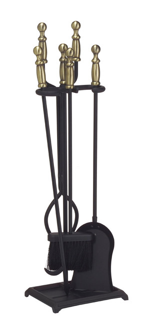 Achla Minuteman Antique Brass Plated and Black 4 - Fireplace Tool Set X300951