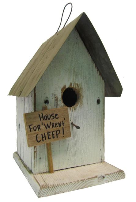 Bird-N-Hand Distressed Wood House for Wrent Birdhouse Decorative Bird House SM27