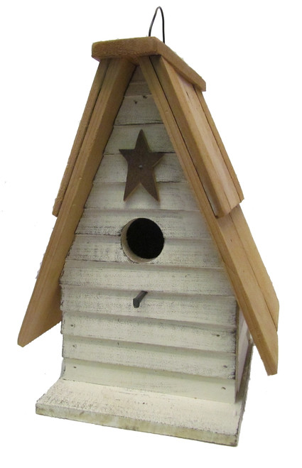 Bird-N-Hand Distressed Wood Siding A-Frame Birdhouse Decorative Bird House SM34