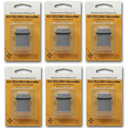 6 Invisible Fence R21 R22 and R51 Compatible Replacement Dog Collar Battery