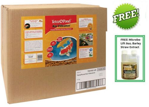 Tetra Pond Koi Vibrance Color Enhancing Premium Koi Food # 16458 16.5lbs. 40L Box Plus FREE Microbe Lift Barley