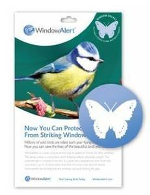 Window Alert Butterfly Decal Prevent Bird Strikes (WINDA3)  Millions of wild birds are killed each year flying into windows. Now you can help reduce this loss of life. * WindowAlert is a static-cling decal that may be applied to home and office windows. The decal contains a component which brilliantly reflects ultraviolet sunlight. This ultraviolet light is invisible to humans, but glows like a stoplight for birds. Birds have vision that is up to 12 times better than that of humans. * WindowAlert decals help birds see windows and thus avoid striking the glass. (4 per package). Window Alert decals may be used only on an exterior glass surface free of any overlay, tinting, film, or coating. Clean glass first with water. Avoid use of    chemicals such as ammonia or window cleaners. Decals are best applied when glass is warm (ideally greater than 50 degrees). If applied during winter months, clean glass with warm water prior to application. Place decals alone or in groups every few feet on the outside of the window. Position out of reach of infants and small children. Restore static cling by rinsing in lukewarm water. UV coating may fade based on exposure and local elevation. Replace decals every 9 to 12 months.