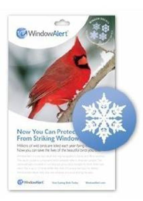 Window Alert Snowflake Decal Prevent Bird Strikes ( WINDA7) 4 different snowflake designs. Protect wild birds from windows. Millions of wild birds are killed each year flying into windows. Now you can help reduce this loss of life. Window Alert is a static-cling decal that may be applied to home and office windows. The decal contains a component which brilliantly reflects ultraviolet sunlight. This ultraviolet light is invisible to humans, but glows like a stoplight for birds. Birds have vision that is up to 12 times better than that of humans. Window Alert decals help birds see windows and thus avoid striking the glass. (4 per package). Window Alert decals may be used only on an exterior glass surface free of any overlay, tinting, film, or coating. Clean glass first with water. Avoid use of chemicals such as ammonia or window cleaners. Decals are best applied when glass is warm (ideally greater than 50 degrees). If applied during winter months, clean glass with warm water prior to application. Place decals alone or in groups every few feet on the outside of the window. Position out of reach of infants and small children. Restore static cling by rinsing in lukewarm water. UV coating may fade based on exposure and local elevation. Replace decals every 9 to 12 months.