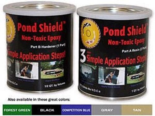 Pond Armor Pond Sheild Non-Toxic Epoxy Pond Liner & Sealer 1.5 Quart Clear, Blue, Black, Gray, Green, Tan and White  Colors Free Shipping