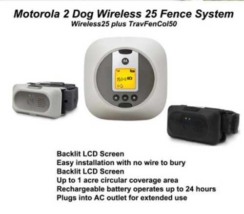 Motorola Wireless Dog Fence for Home and Travel 2 Dog System - WIRELESSFENCE25 On Sale Free Shipping