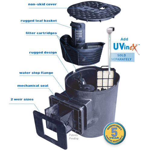 Savio Pond  Skimmer Filter 500 to 8500 GPH Flow Rate