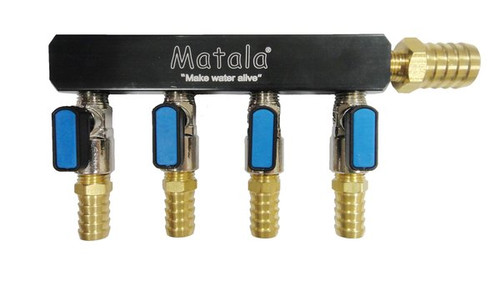 "- Matala Hakko Air Manifold 4 Values For 5/8"" Tubing (MAH89)"