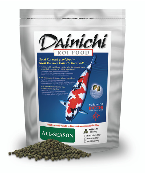 Dainichi All Season Koi Food Pellets 11 lb. Package Small Pellets 1113