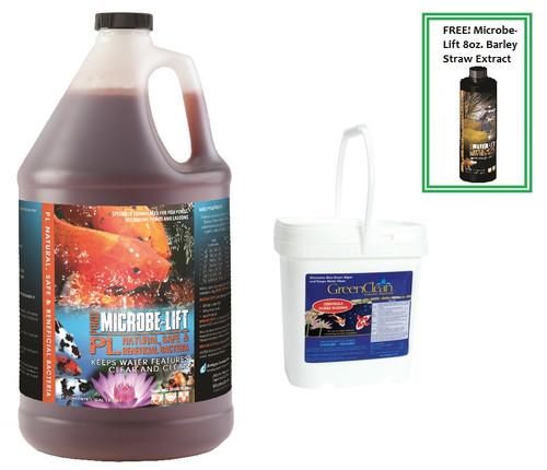 Microbe Lift PL 1 Gallon &  GreenClean 8lb. Plus Free Microbe Lift Barley Straw 8oz. Bonus Value Pack