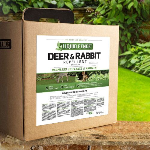 Don't let animals have the pick of the garden before you can. Deer, rabbits, moles and other four-legged pests enjoy your lawn and landscape as much as you do – hit them in the nose so they won't come back. Liquid Fence animal repellents use scent- and taste-deterring formulas that won't harm animals or plants when used as directed. Invisible barrier. Clear results. Liquid Fence Deer & Rabbit Repellent Granular2 repels deer and rabbits before they feed! This granular formula repels deer and rabbits from low-growing flower beds, landscaped ornamental gardens, ground cover and lawns. The repellent works on scent, so deer and rabbits don't have to take a bite to be repelled. It is harmless to plants and animals when used and stored as directed, and can be applied year-round. The formula is rain resistant. Animals' natural aversion to this scent will never diminish – this product does not have to be rotated with other repellent brands. Reapply every 3 to 4 weeks. Reapplication is recommended after excessive rainfall. In areas where feeding pressure from deer and rabbits is intense, additional and/or more liberal applications may be needed.