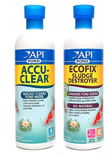 API Pond Care AccuClear 16 oz. Pond Water Clarifier PLUS EcoFix 16 oz. Sludge Remover 142 B + 147 B