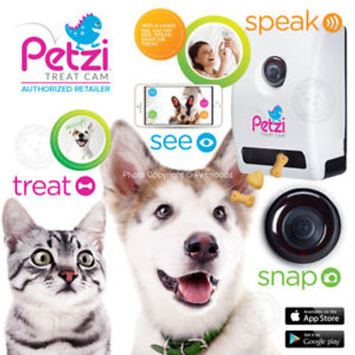 Petzi Smart Automatic Pet Treat Dispenser with Camera (PET0025) Petzi Smart Automatic Pet Treat Dispenser w/ Wi Fi Camera & Cell Phone APP