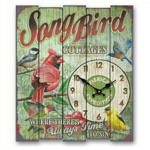 American Expedition Songbird Cottages Wooden Cabin Sign Clock AMEWCBK428