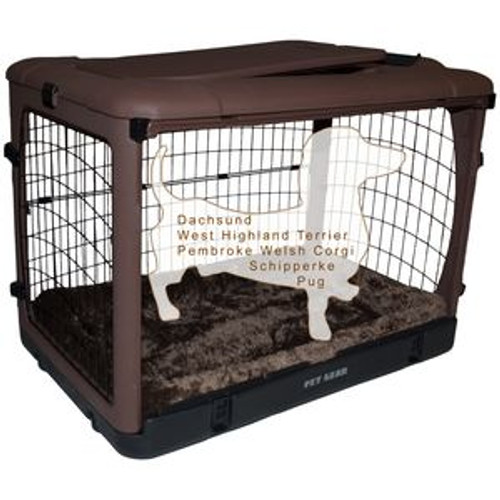 """Pet Gear """"The Other Door"""" Steel Crates, Bolster Pad and Carry Bag CHOCOLATE PG5927BCH"""