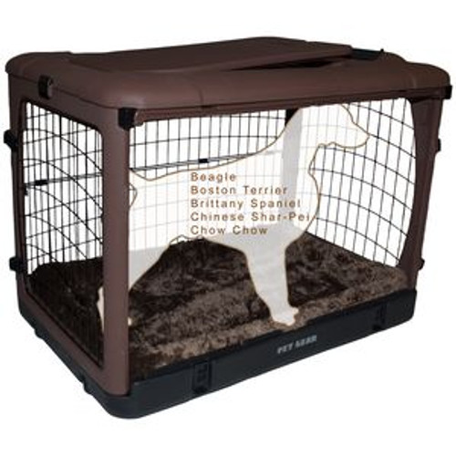 """Pet Gear """"The Other Door"""" Steel Crates, Bolster Pad and Carry Bag CHOCOLATE PG5936BCH"""