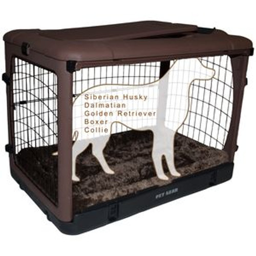 """Pet Gear """"The Other Door"""" Steel Crates, Bolster Pad and Carry Bag CHOCOLATE PG5942BCH"""