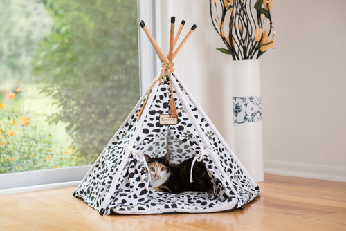 Armarkat Cat or Dog Bed Tent White with Black Paw Print C46