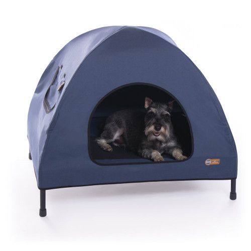 K & H Pet Cot House Indoor & Outdoor Elevated Pet Bed & Shelter Small Navy Blue KH1612