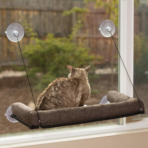 K & H EZ Mount Kitty Sill Deluxe with Bolster Chocolate KH9090