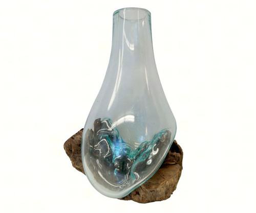 Cohasset Gifts 10 inch Wood & Glass Stem Vase CH651V25