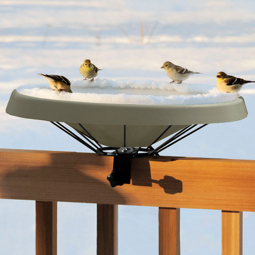 Birds Choice Green Heated Deck Mounted Bird Bath Ice Free To -25 Degrees Fahrenheit 125 Watt  BNHDECKGR