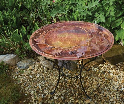 Ancient Graffiti Oval Branch Flamed Standing Bird Bath AG17044